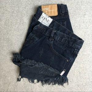 One Teaspoon Bonitas distressed dark blue shorts29